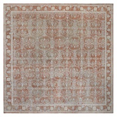 Modern Traditional Inspired Orange and Gray Hand Knotted Wool Rug