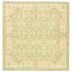 Modern Traditional Oriental Inspired Beige, Brown and Aquamarine Wool Rug