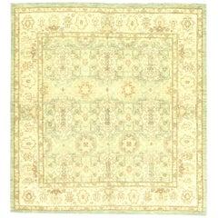 Modern Traditional Oriental Inspired Beige, Brown and Aquamarine Wool Rug