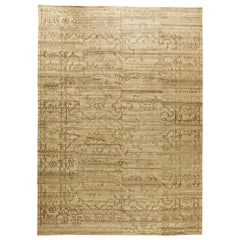 Modern Traditional Oriental Inspired Beige Hand-knotted Wool Rug