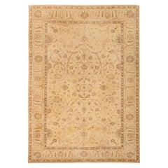 Modern Traditional Oriental Inspired Light Brown and Sandy Hand Knotted Wool Rug