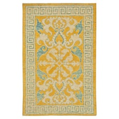 Modern Traditional Oriental Inspired Yellow, Beige and Turquoise Wool Rug