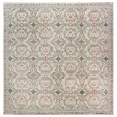 Modern Traditional Oushak Inspired Light Blue and Pink Wool Rug