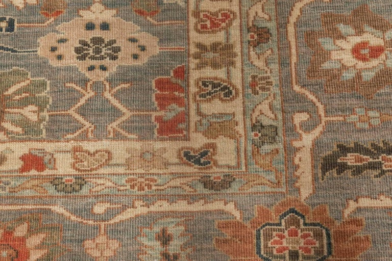 Modern Traditional Sultanabad Design Blue and Gray Wool Rug In New Condition For Sale In New York, NY