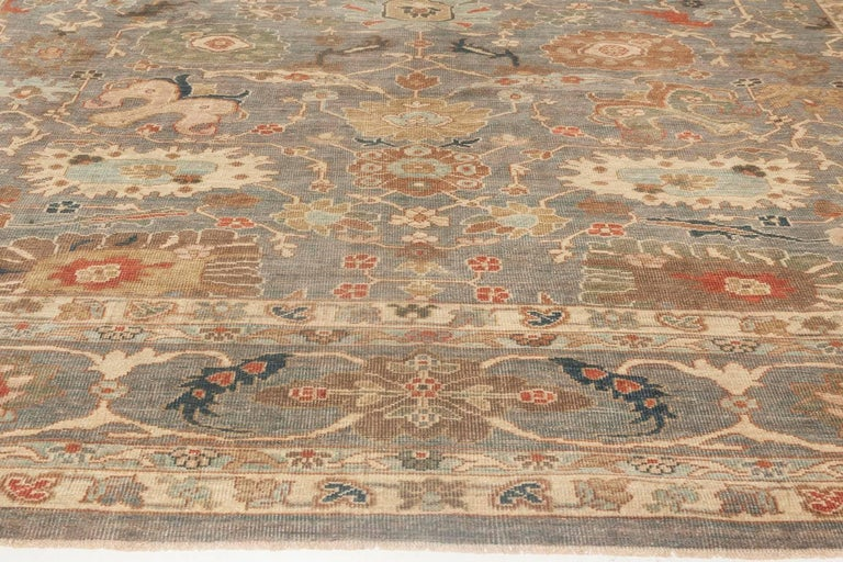 Contemporary Modern Traditional Sultanabad Design Blue and Gray Wool Rug For Sale