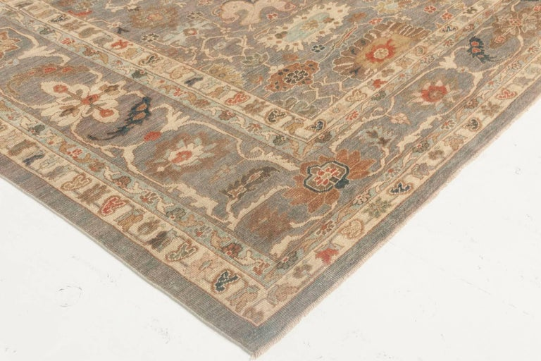 Modern Traditional Sultanabad Design Blue and Gray Wool Rug For Sale 2
