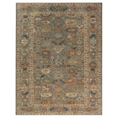 Modern Traditional Sultanabad Design Blue and Gray Wool Rug