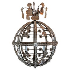 Modern Transitional Brushed Nickel Sputnik Rock Crystal Ball Chandelier Fixture