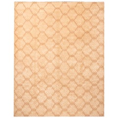 Modern Transitional Endless Knot Beige Wool Rug
