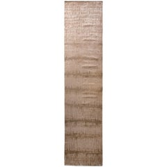 Modern Transitional Runner Beige Brown Wool and Silk Rug by Rug & Kilim