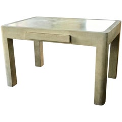 Modern Travertine and Wood Custom Made Game Table From The Sinatra Estate