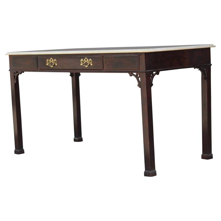 American Modern Travertine Top Single Drawer Desk by Henredon with Brass Hardware For Sale