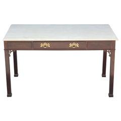 Modern Travertine Top Single Drawer Desk by Henredon with Brass Hardware