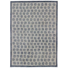 Modern Tribal Rug with All Repeating Motifs with Cream and Gray-Blue