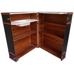 Modern Trunk Bar Black and Red with Sink Inside on Wheels