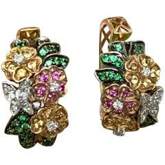 Modern Tsavorite Garnet Summer 14 Karat Gold Earring