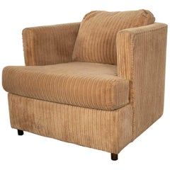 Modern Tub Lounge Chair Camel Colored Wide Wale Corduroy Style Harvey Probber