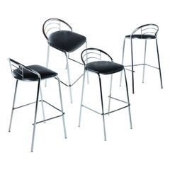 Modern Tubular Chrome Bar Stools with Black Seats