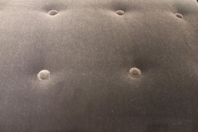 Modern Tufted Armed Bench in Dark Grey Velvet with Brass Legs In Excellent Condition In Houston, TX