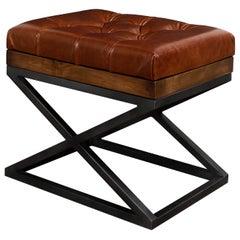 Modern Tufted Leather X Frame Stool