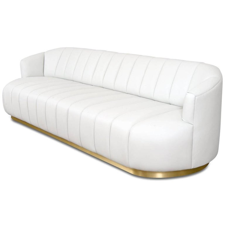 Introducing The Avalon Sofa In Faux Leather This Bold Features Top To Bottom Channel
