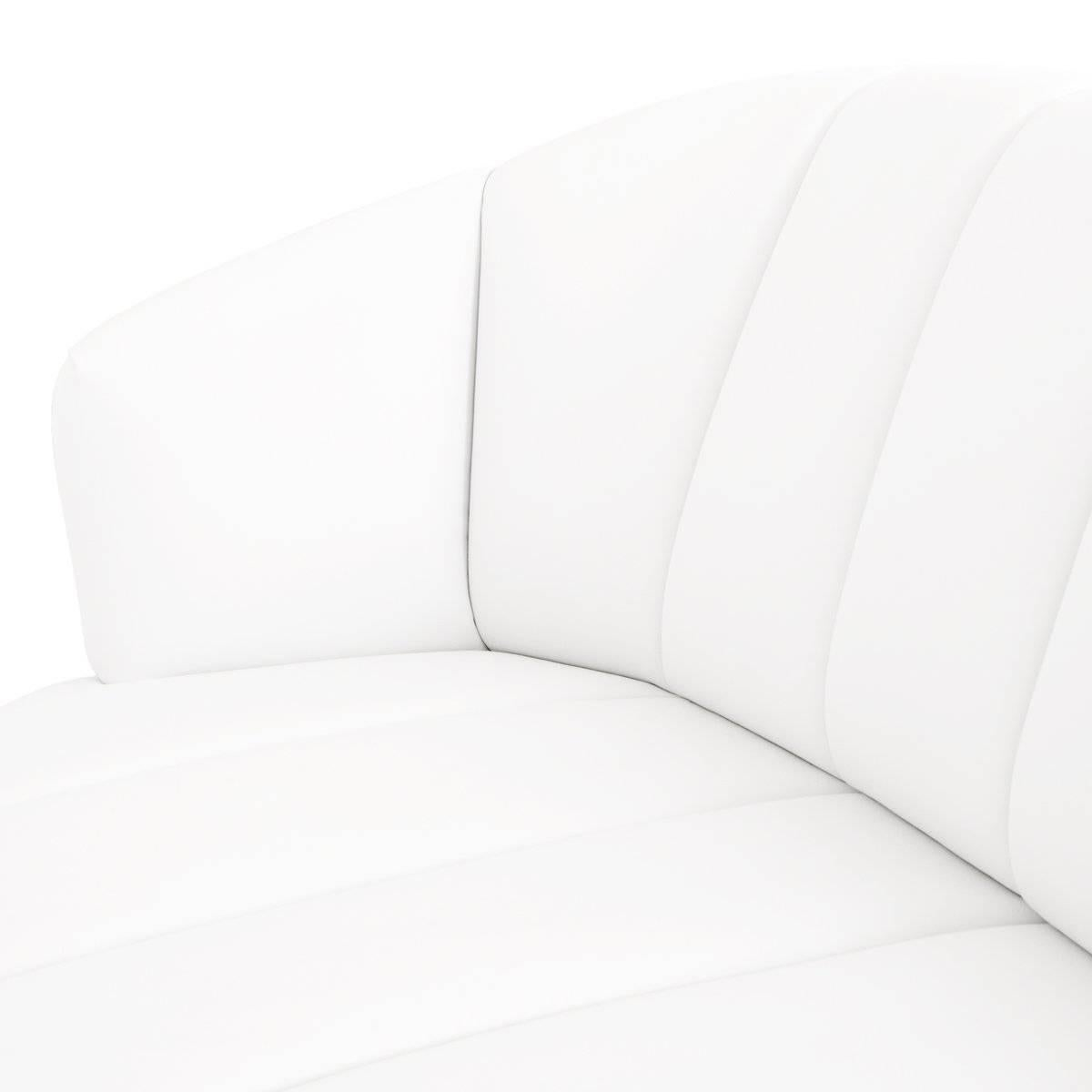 Modern Tufted Pearl White Faux Leather Sofa With Channel Tufting U0026 Brass  Toekick