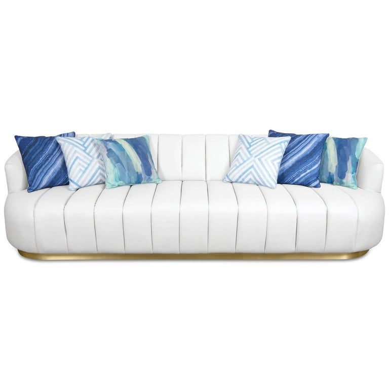 Modern Tufted Pearl White Faux Leather Sofa with Channel Tufting & Brass Toekick In New Condition For Sale In Compton, CA