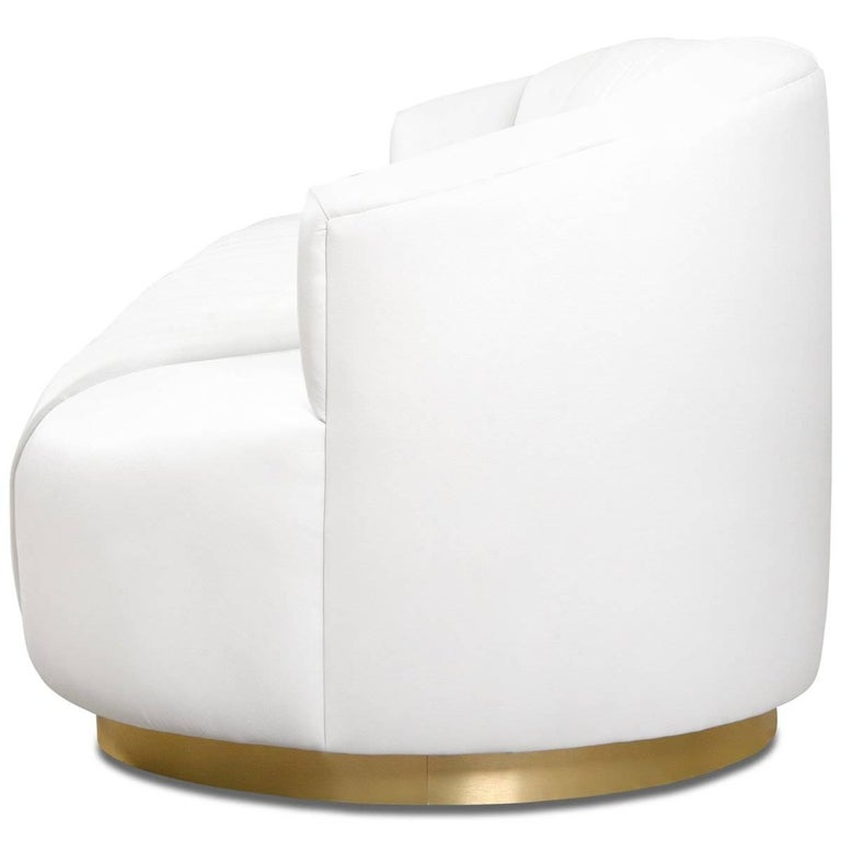 Modern Tufted Pearl White Faux Leather Sofa with Channel Tufting & Brass Toekick For Sale 1