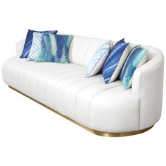 Modern Tufted Pearl White Faux Leather Sofa with Channel Tufting & Brass Toekick