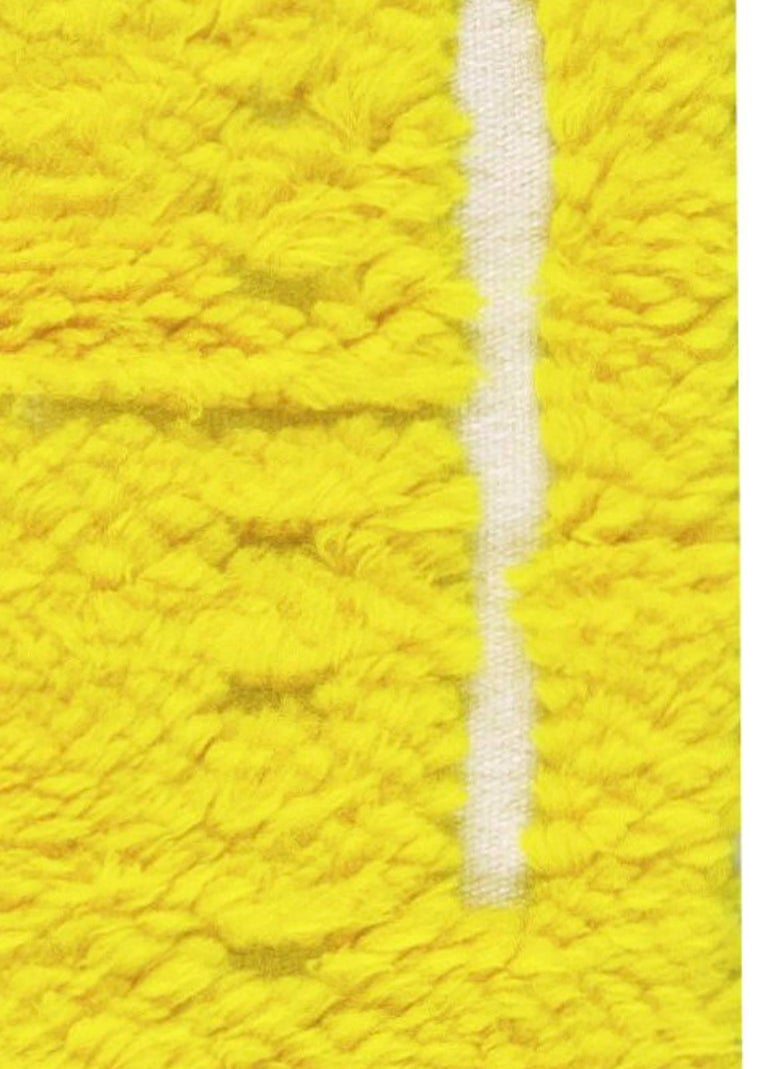 Hand-Knotted Modern Tulu Bright Yellow Hand Knotted Wool Rug For Sale