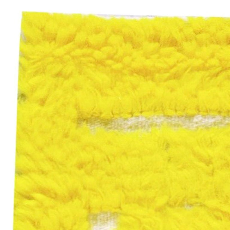 Modern Tulu Bright Yellow Hand Knotted Wool Rug In New Condition For Sale In New York, NY