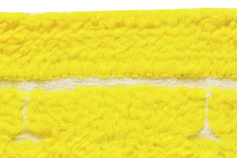 Contemporary Modern Tulu Bright Yellow Hand Knotted Wool Rug For Sale