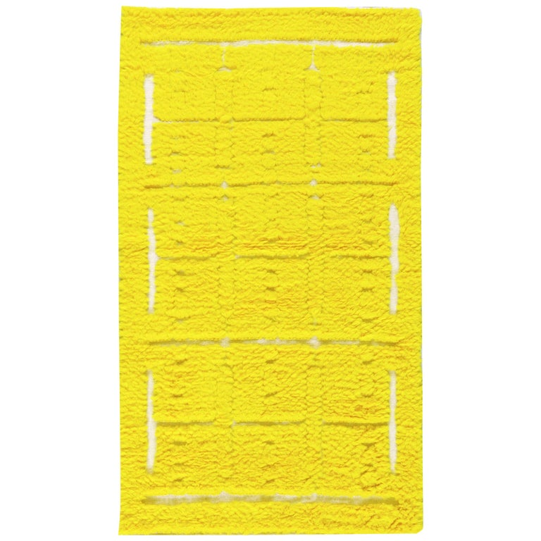 Modern Tulu Bright Yellow Hand Knotted Wool Rug For Sale