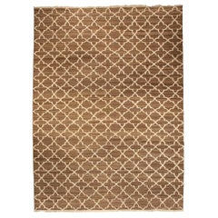Modern Tulu Nadu Alhambra Petite Brown and Beige Rug