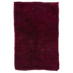 """4x6 Ft Solid Maroon Red Color Minimalist Vintage """"Tulu"""" Rug, 100% Soft Wool"""