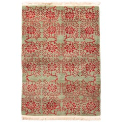 Modern Tulu Transitional Green and Red Wool Rug