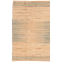 Modern Turkish Beige and Blue Kilim Rug