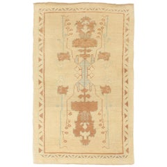 Modern Turkish Donegal Rug with Blue and Brown Botanical Motifs