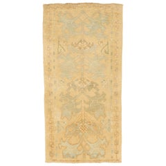 Modern Turkish Donegal Rug with Blue and Green Botanical Patterns