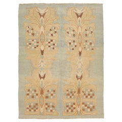 Modern Turkish Donegal Rug with Brown and Beige Botanical Patterns