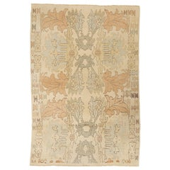 Modern Turkish Donegal Rug with Brown and Green Botanical Patterns