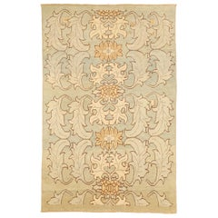 Modern Turkish Donegal Rug with Brown and Ivory Botanical Patterns