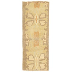Modern Turkish Donegal Rug with Ivory and Beige Botanical Details