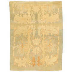 Modern Turkish Donegal Rug with Ivory and Beige Botanical Patterns