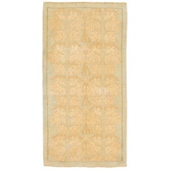 Modern Turkish Donegal Rug with Ivory and Brown Botanical Pattern