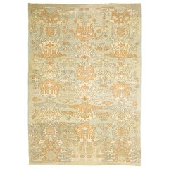 Modern Turkish Donegal Rug with Ivory and Brown Botanical Patterns