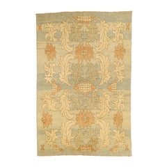 Modern Turkish Donegal Rug with Ivory and Brown Floral Details