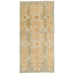 Modern Turkish Donegal Rug with Ivory and Green Botanical Patterns