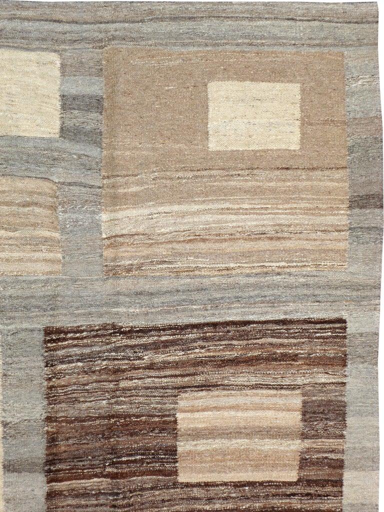 Hand-Woven Modern Turkish Flat-Weave Carpet For Sale