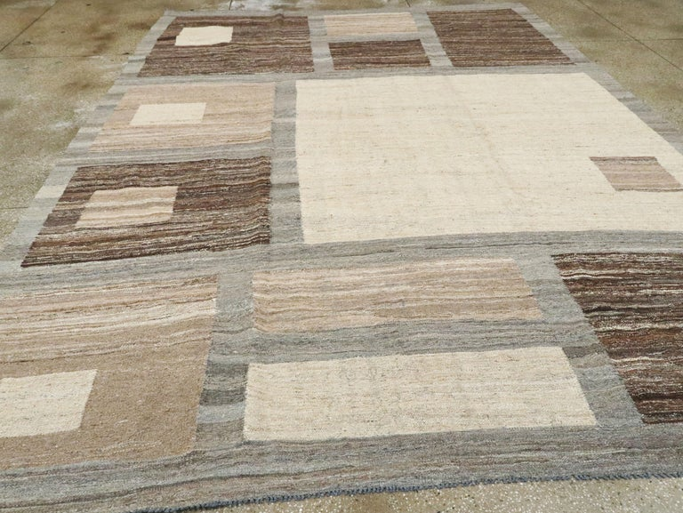 Contemporary Modern Turkish Flat-Weave Carpet For Sale